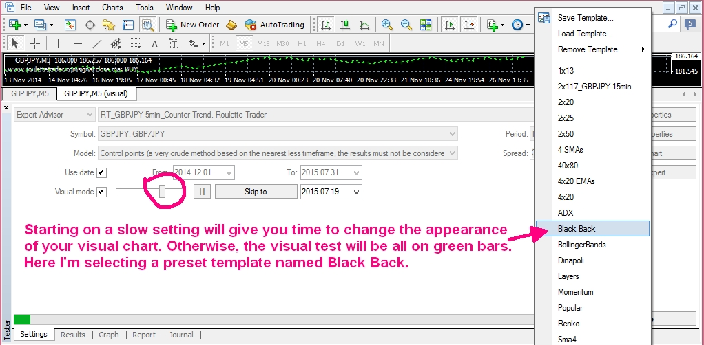 4. Select Template for backtest